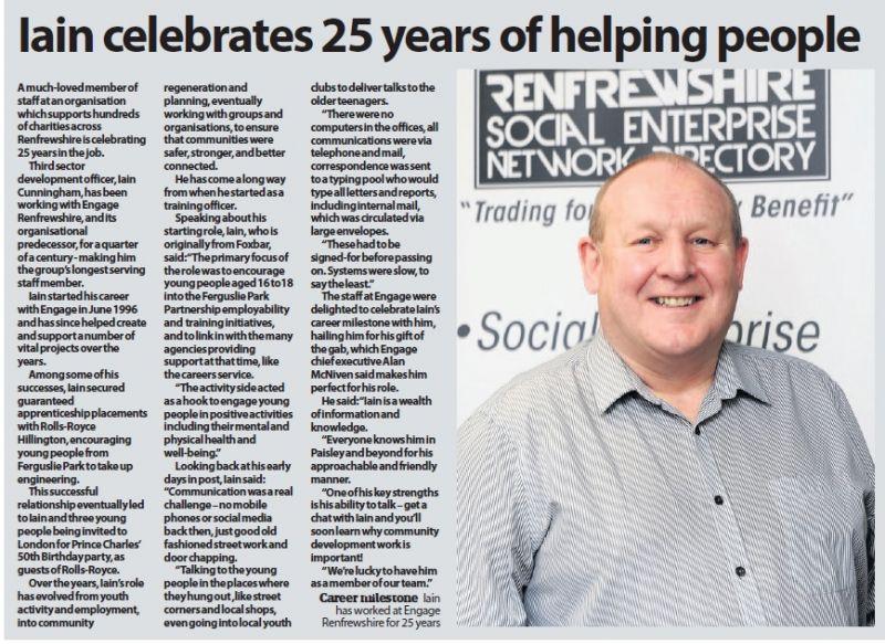 Iain celebrates 25 years of helping Renfrewshire - courtesy of the Paisley Daily Express