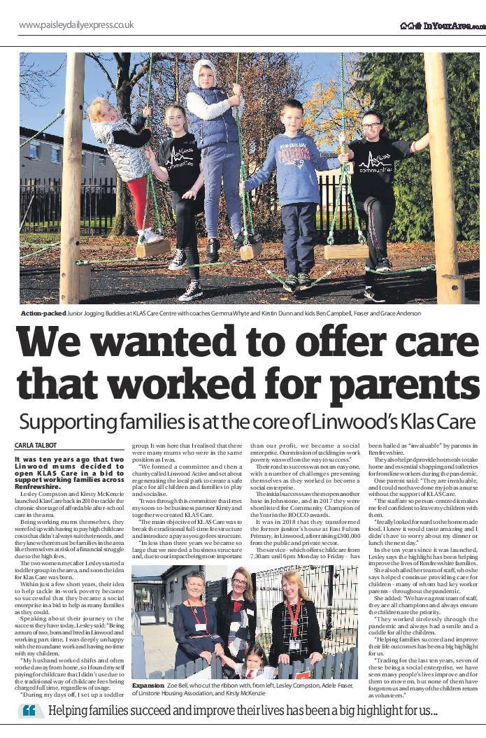 KLAS Care - Paisley Daily Express Article