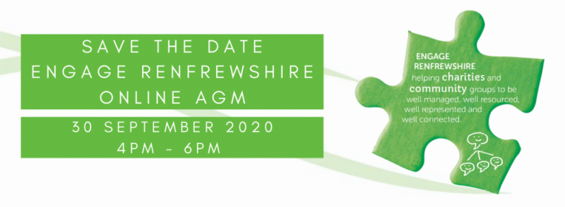 Save the date Online AGM Engage Renfreshire 30/09/2020